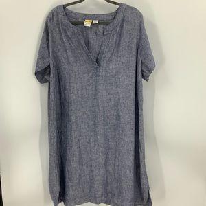 C&C California 100% linen V-neck Dress 2X
